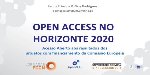 Open Access no Horizonte 2020 – apresentação sobre acesso aberto aos resultados dos projetos com financiamento da Comissão Europeia