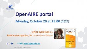 Webinar: OpenAIRE portal