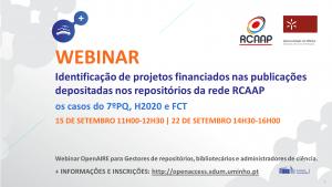 Webinar OpenAIRE: Identificação de projetos financiados nas publicações depositadas nos repositórios da rede RCAAP (2ª sessão) @ Webinar