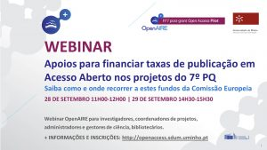 WEBINAR OpenAIRE: Apoios para financiar taxas de publicação em Acesso Aberto nos projetos do 7º PQ (1ª sessão) @ Webinar