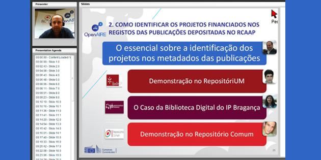 Gravação e slides do webinar sobre Identificação de projetos financiados nas publicações depositadas nos repositórios da rede RCAAP