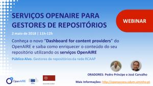 Webinar Serviços OpenAIRE para Gestores de Repositórios