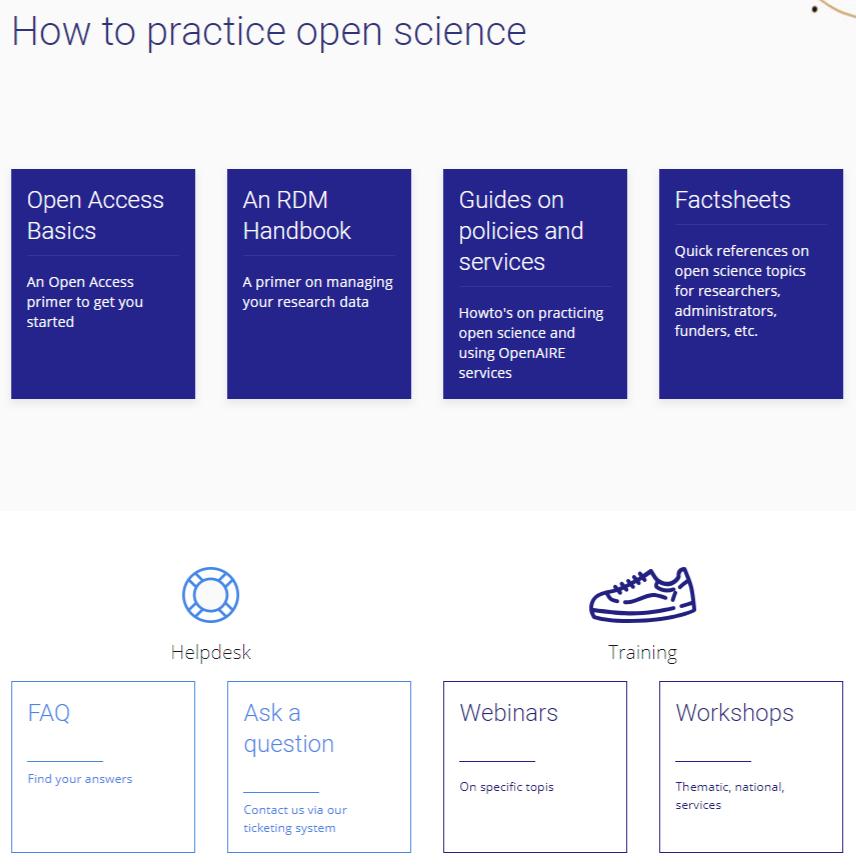 Página de suporte do OpenAIRE